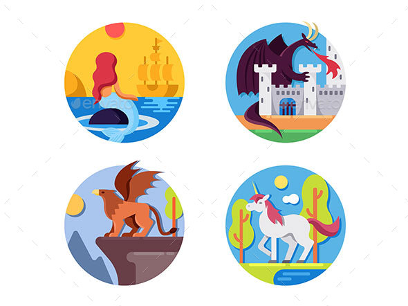 Fairy Mythical Creatures Icons - Web Elements Vectors