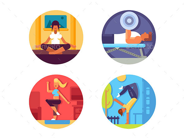 Fitness for Healthy Life Icons Set - Web Elements Vectors