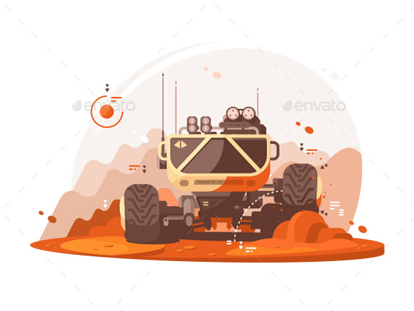 Mars Rover for Scientific Research - Objects Vectors