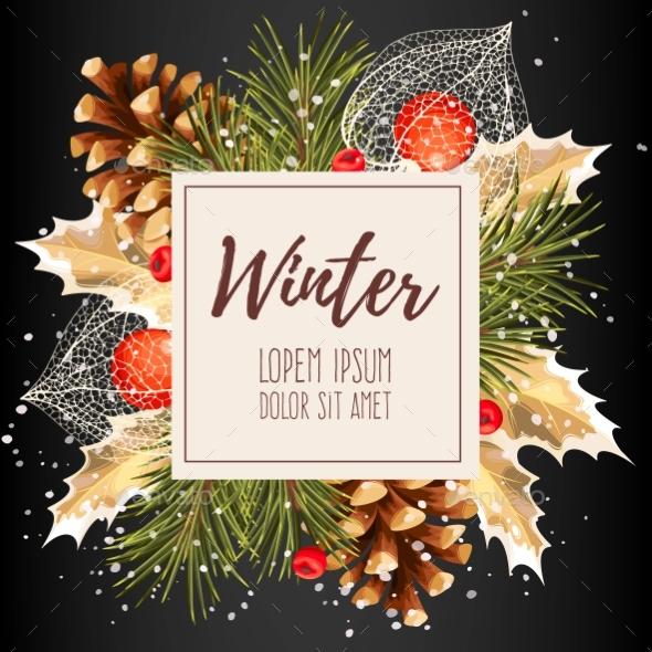 Card with Winter Cherry - Christmas Seasons/Holidays