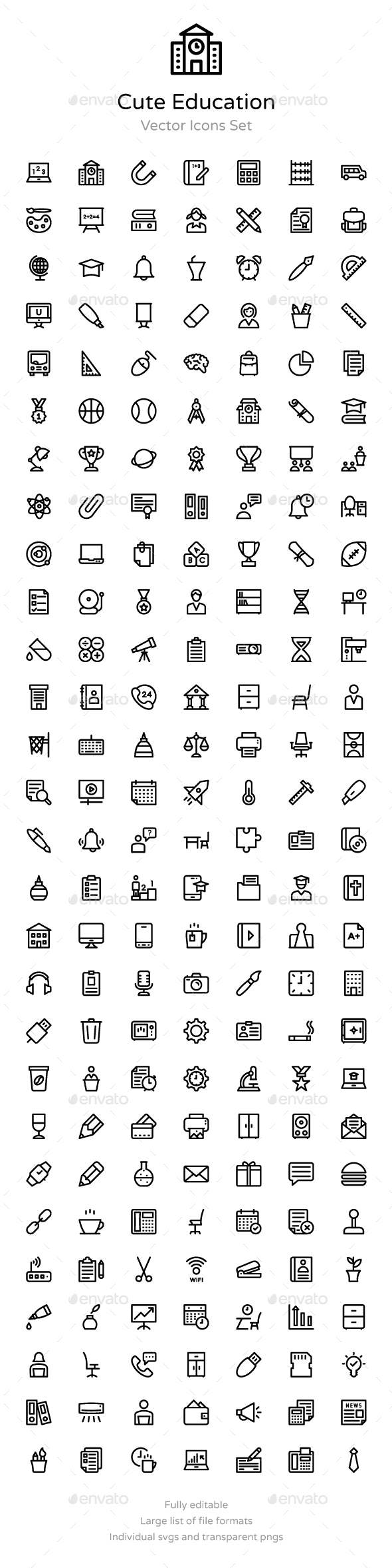 175+ Cute Education Vector Icons - Icons