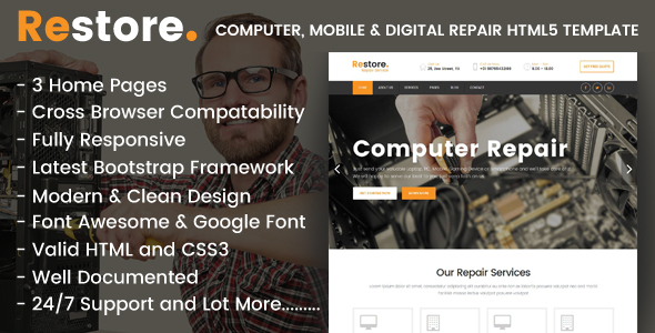 Restore - Computer, Mobile & Digital Repair Shop HTML5 Template