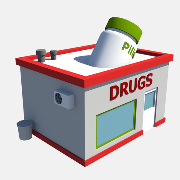 low poly drug store - 3DOcean Item for Sale