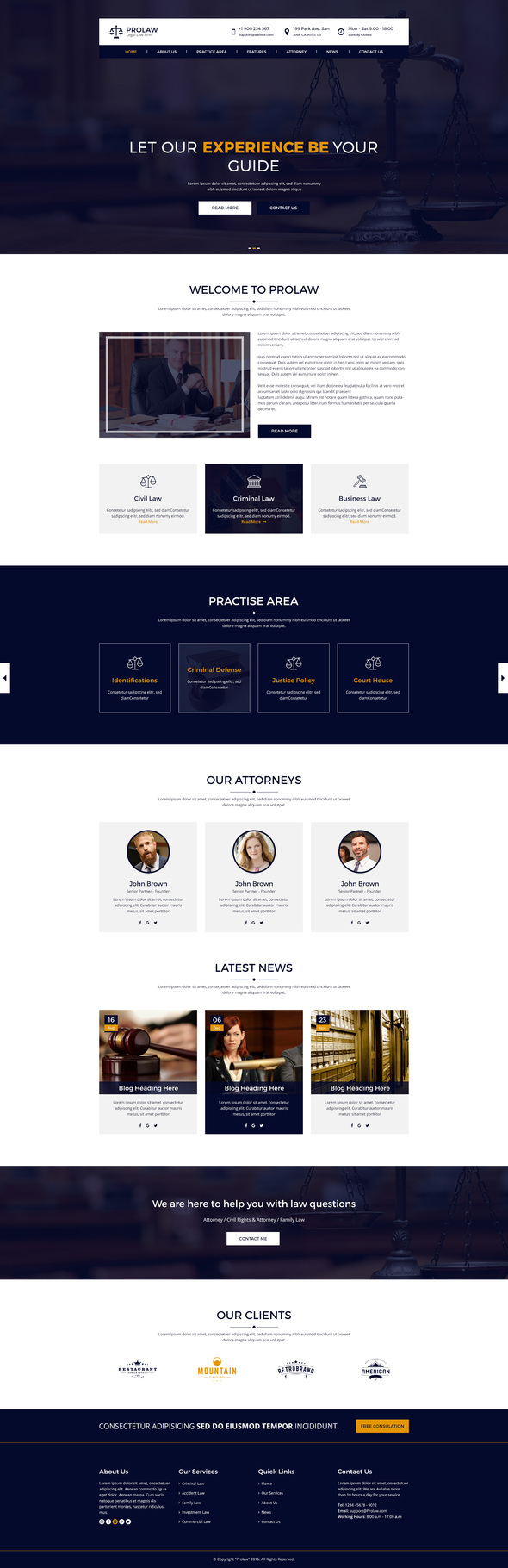 Prolaw Legal Law Firm – Attorney PSD Templates