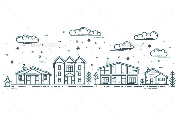 Winter Cityscape - Buildings Objects