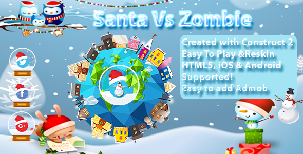Santa vs Zombie Multi Platform - -- HTML5 Game, Mobile Vesion (Construct-2 CAPX) - CodeCanyon Item for Sale