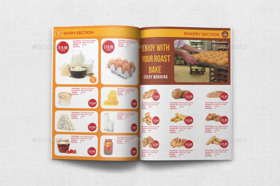 Supermarket Catalog Brochure Template Vol Pages By OWPictures - Bakery brochure template