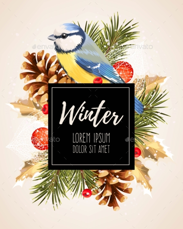 Card with Winter Cherry - Christmas Seasons/Holidays