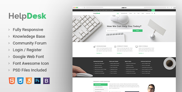 Helpdesk | Knowledge Base | Wiki | FAQ HTML Template