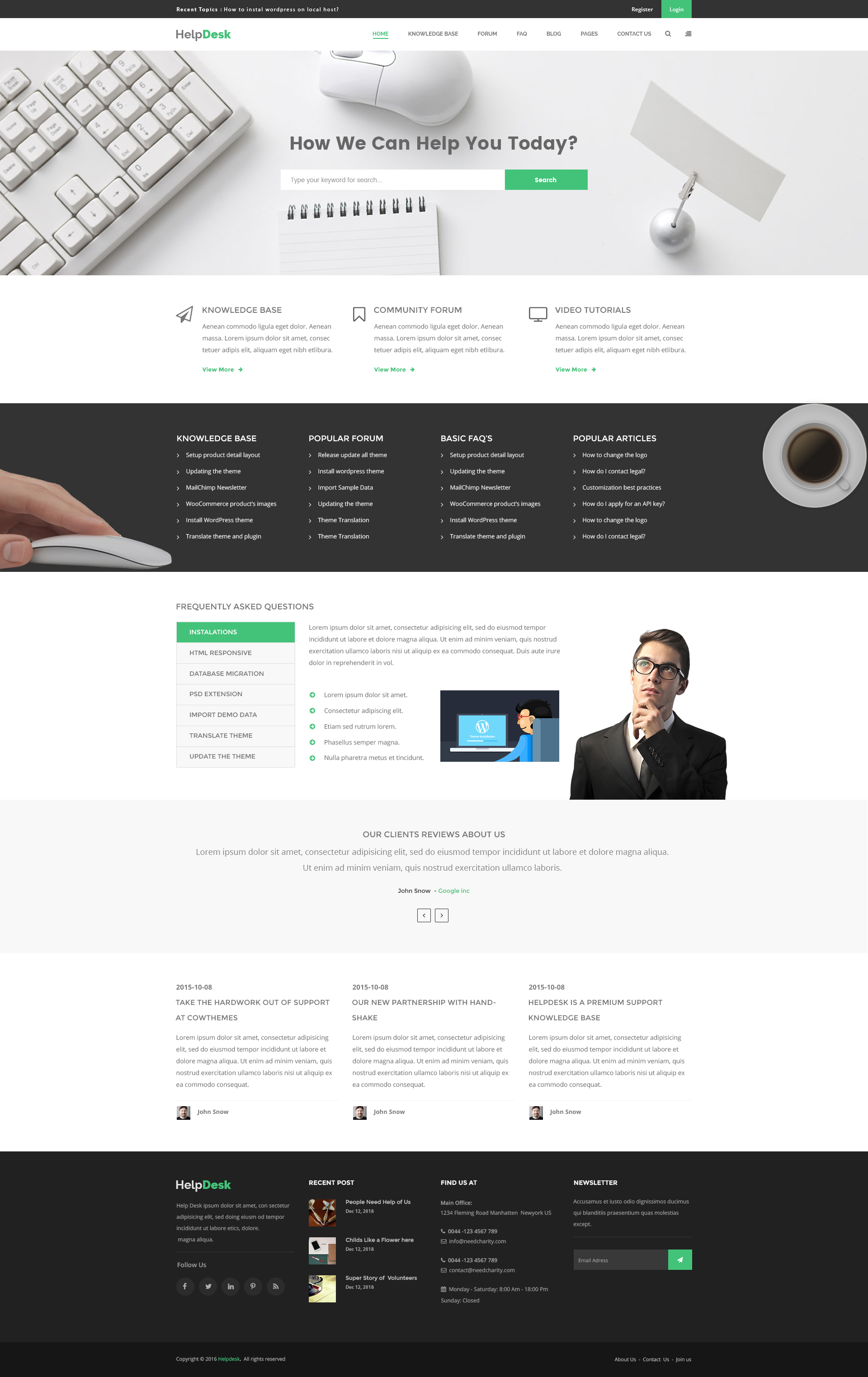 helpdesk knowledge base wiki faq html template by