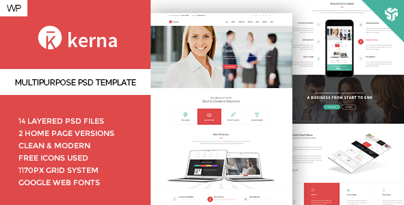 Kerna – Responsive Multi-Purpose WordPress Theme