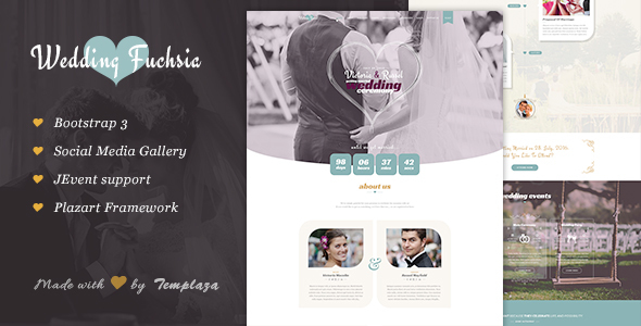 Image of Wedding Fuchsia - Joomla Wedding Template