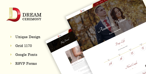 Dream Ceremony – Wedding PSD Template