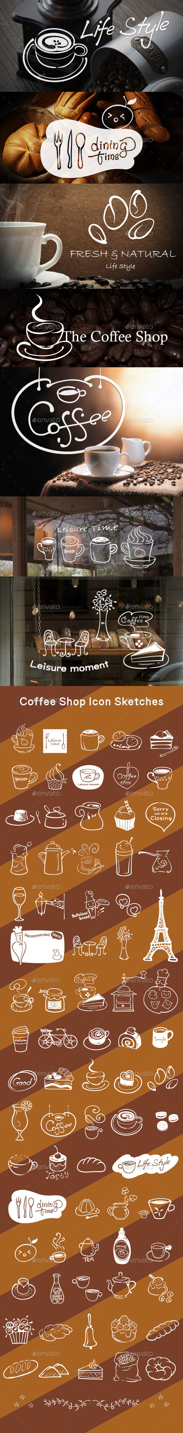 75 Coffee Shop Restaurant Hand Drawn Icon Sketches