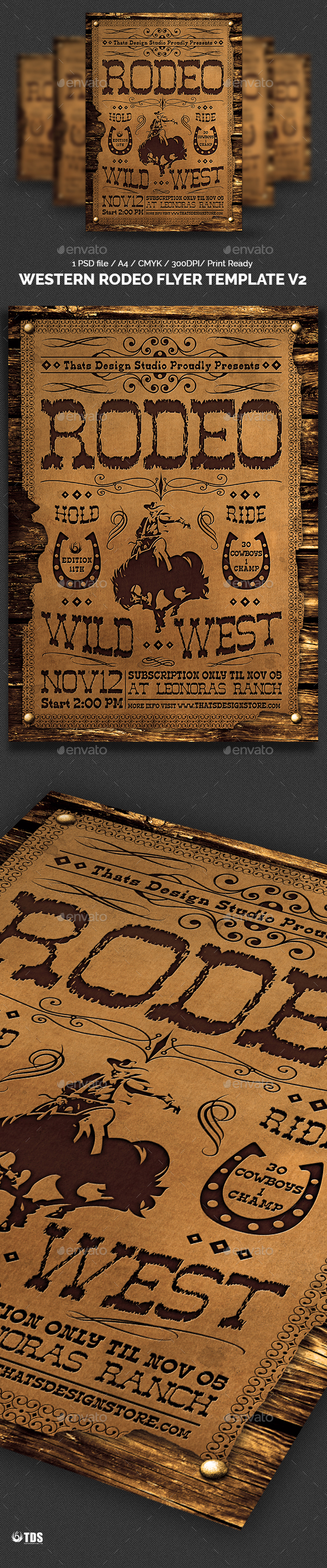 Western Rodeo Flyer Template V2 - Events Flyers
