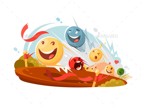 Funny Emotional Smileys in Race - Miscellaneous Vectors