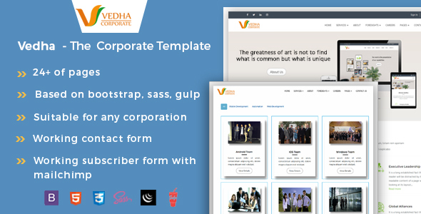 Vedha - Corporate HTML template - Corporate Site Templates