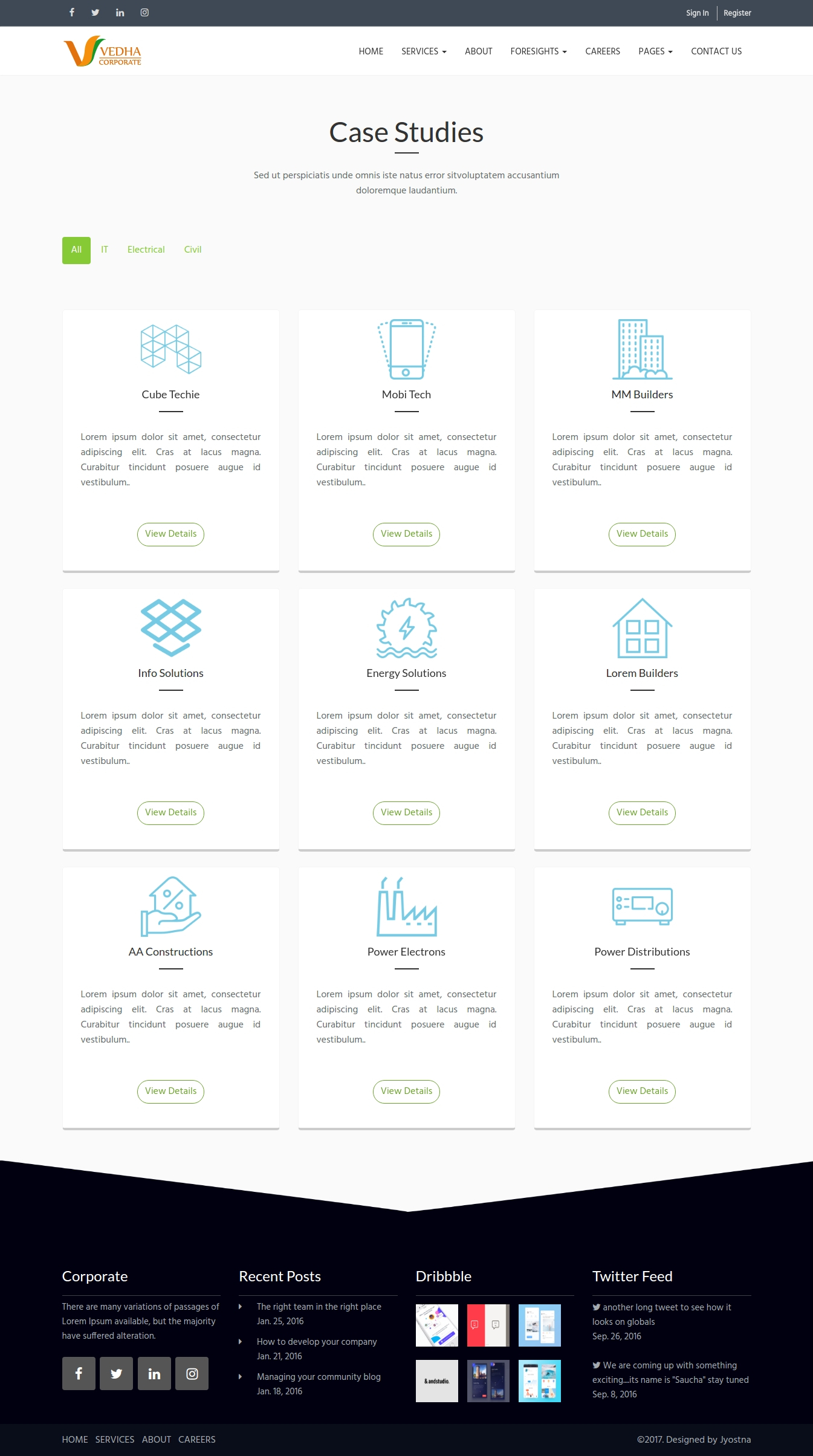 Menu For Olive Garden: Vedha - Corporate HTML Template By Jyostna