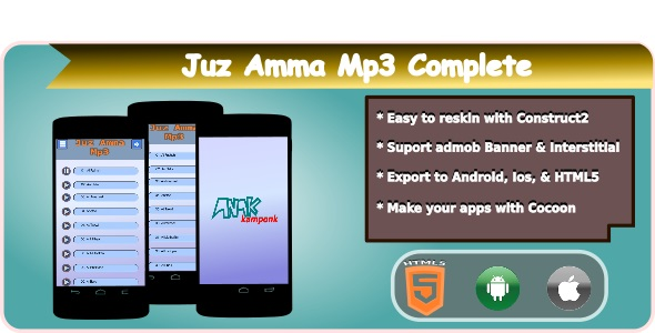 Download Juz Amma Mp3 HTML5 Mobile Applications + Admob nulled version