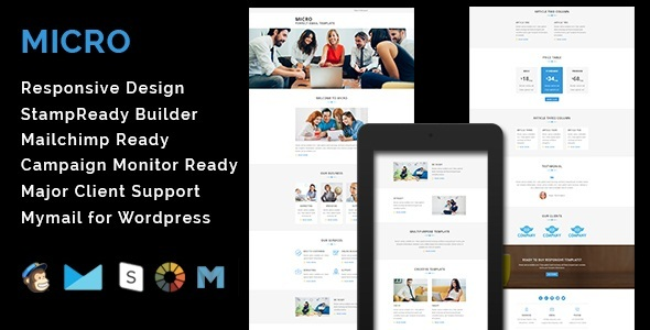 MICRO - Multipurpose Responsive Email Template With Stamp Ready Builder Access - Email Templates Marketing