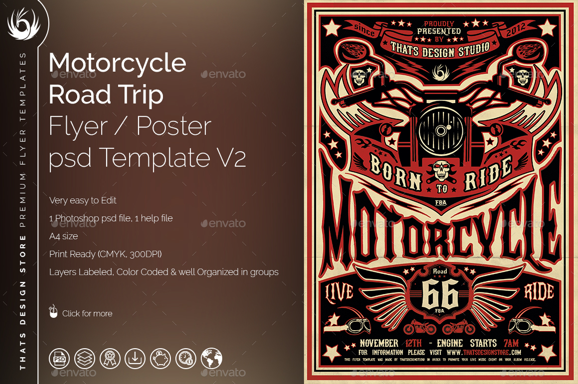 motorcycle road trip flyer template v2 by lou606 graphicriver. Black Bedroom Furniture Sets. Home Design Ideas