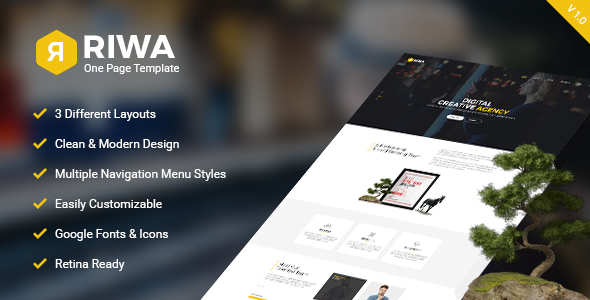 Riwa - One Page PSD - Creative PSD Templates