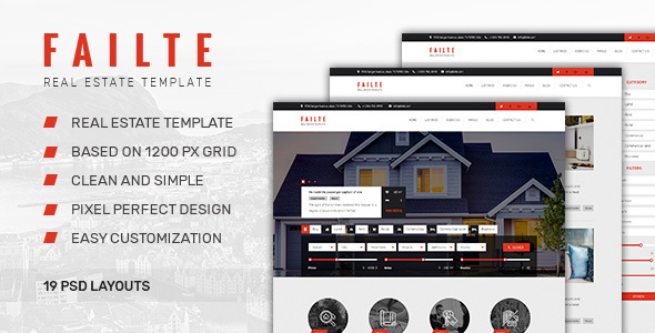 Failte — Sale & Rent Real Estate PSD Template - Business Corporate