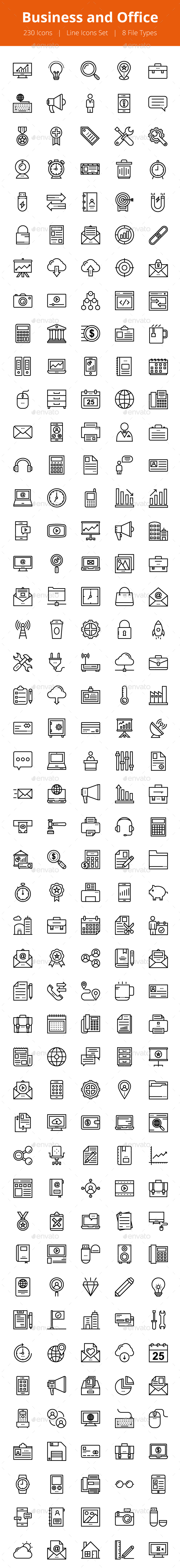 230 Business and Office Line Icons - Icons