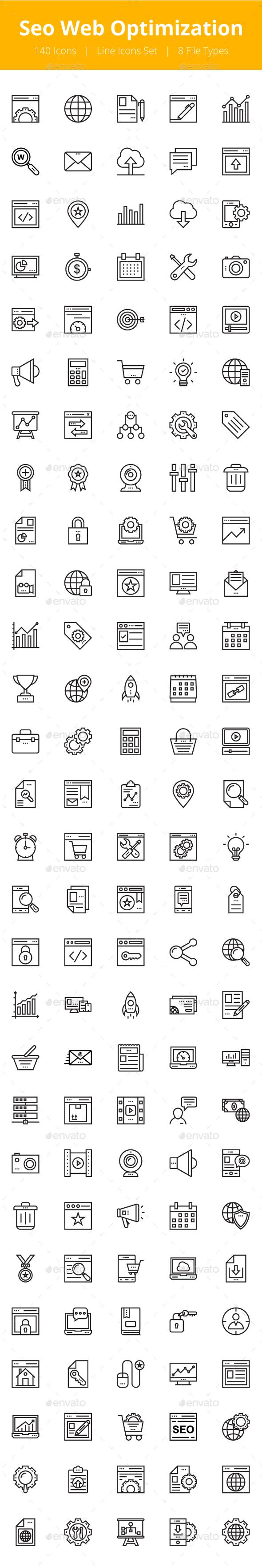 125+ Seo Web Optimization Line Icons - Icons