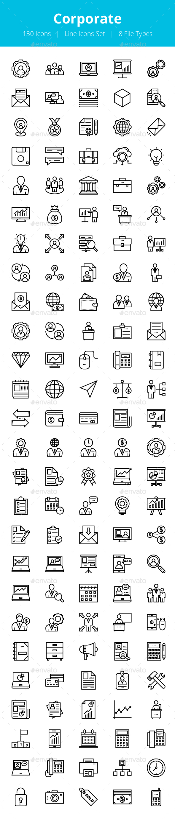 125+ Corporate Line Icons - Icons