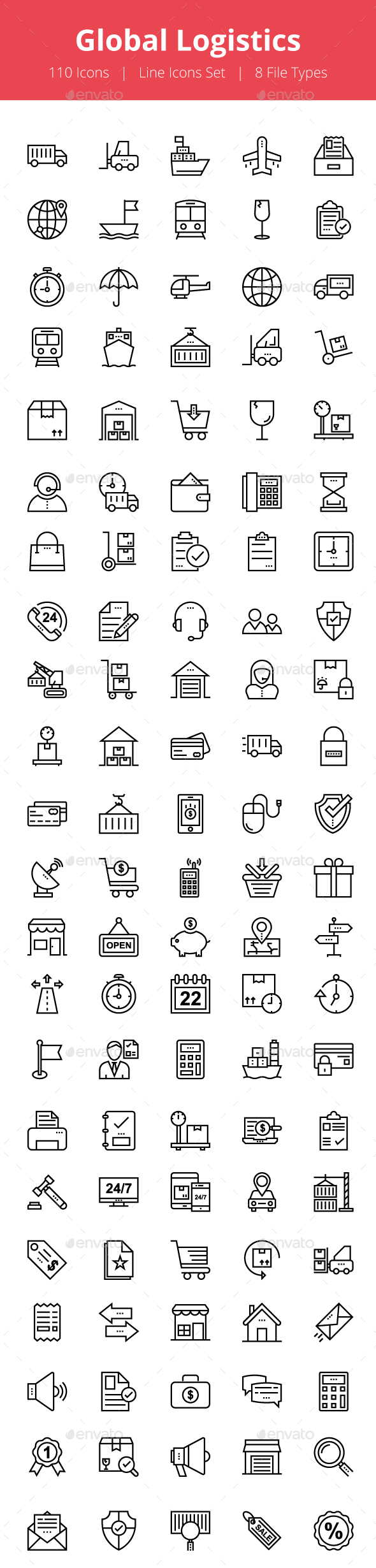 100+ Global Logistics Line Icons - Icons