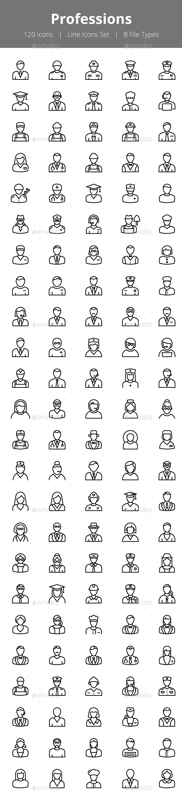 100+ Professions Line Icons - Icons