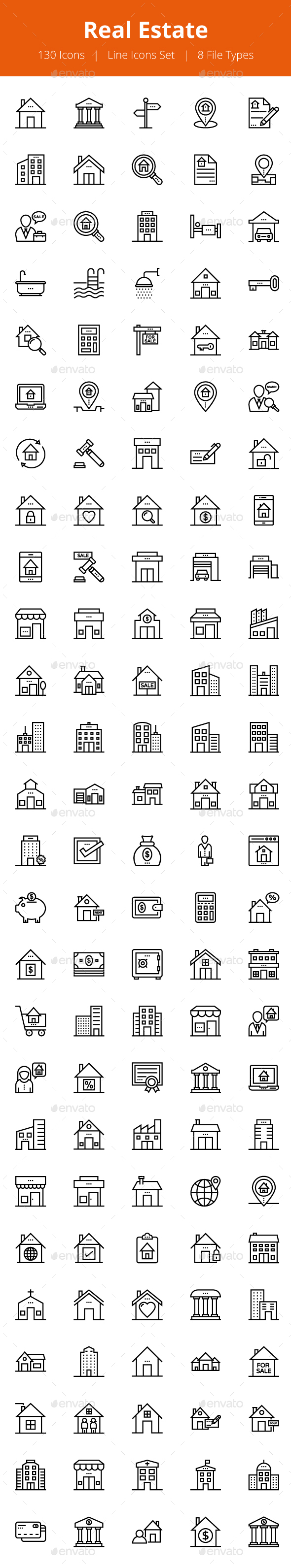 125+ Real Estate Line Icons - Icons