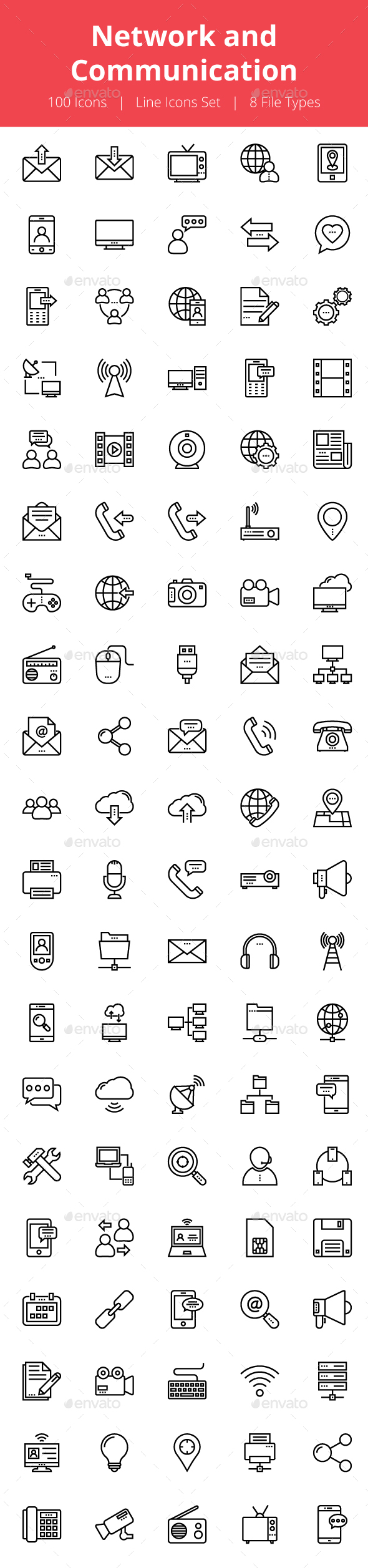 100 Network and Communication Icons - Icons