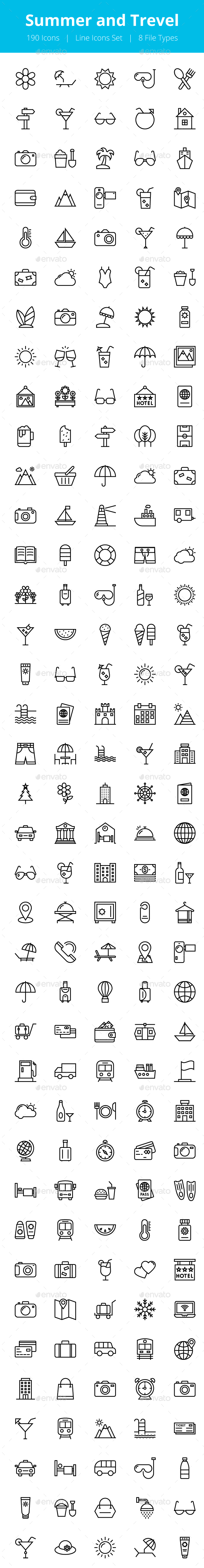 175+ Summer and Travel Line Icons - Icons