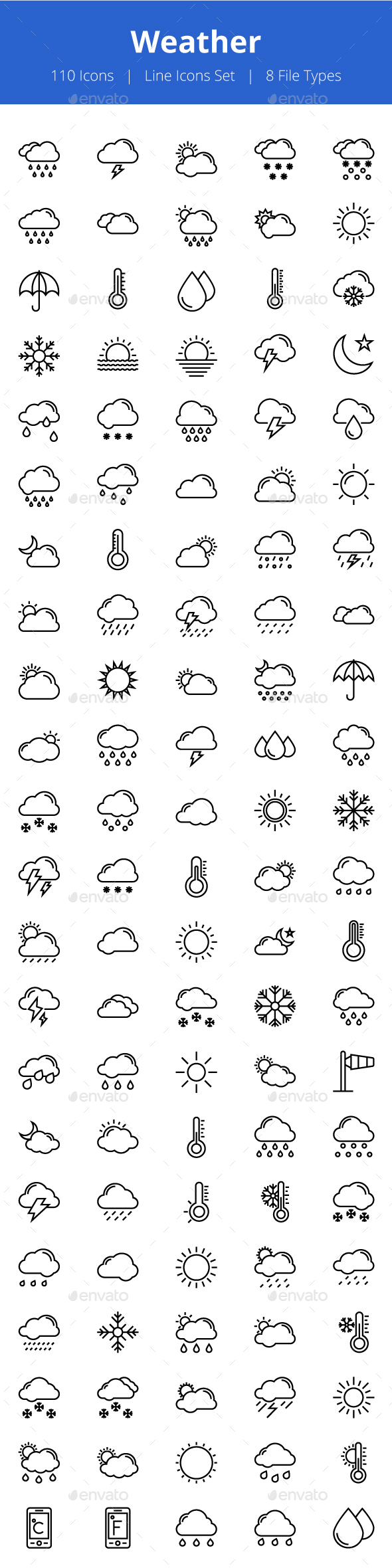 100+ Weather Line Icons - Icons