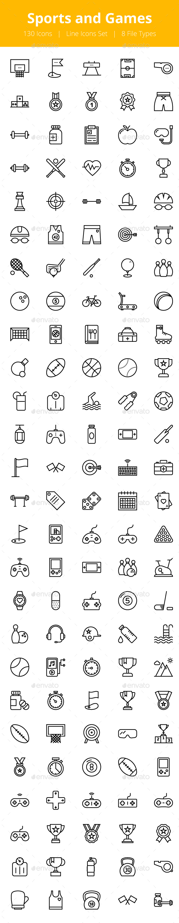 125+ Sports and Games Line Icons - Icons