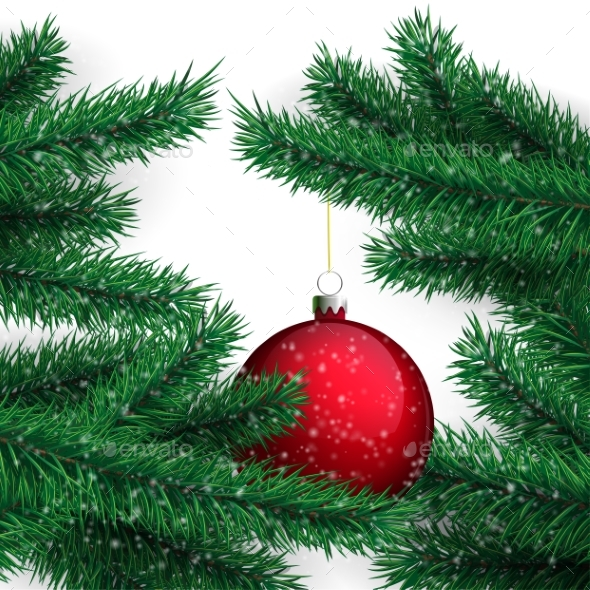 Red Ball and Christmas Tree - Christmas Seasons/Holidays
