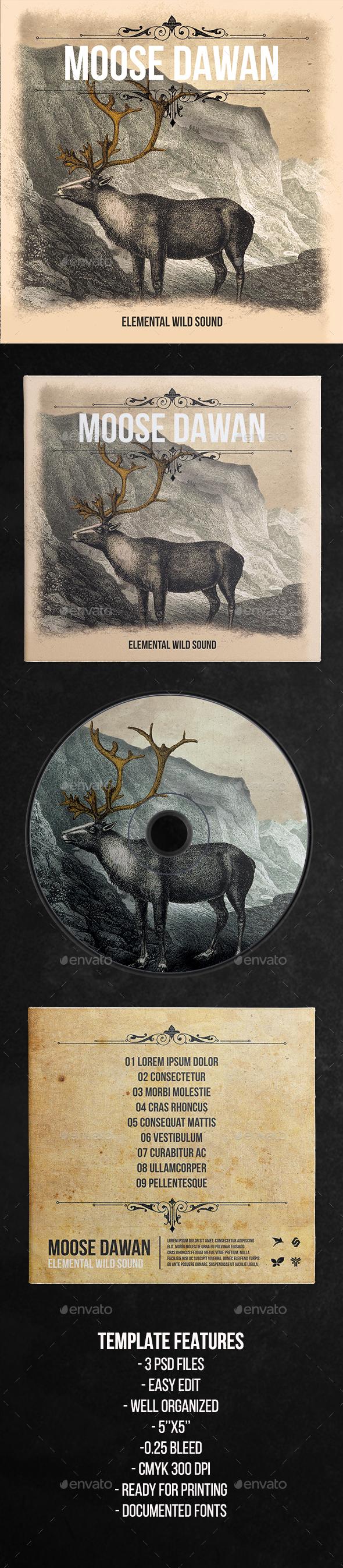 Elemental Wild Sound - CD Cover Artwork Template - CD & DVD Artwork Print Templates