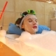 Beautiful Brunette Woman Wearing Cosmetic Face Mask Relaxes in Foamy Bath - VideoHive Item for Sale