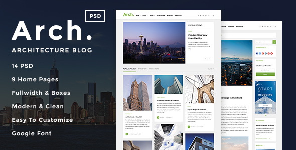 Arch - Architecture Blog PSD Template - PSD Templates