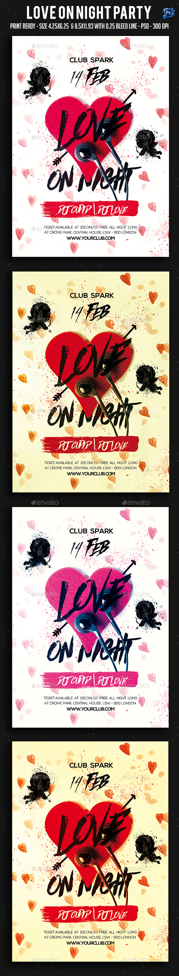 Love On Night Party Flyer - Clubs & Parties Events