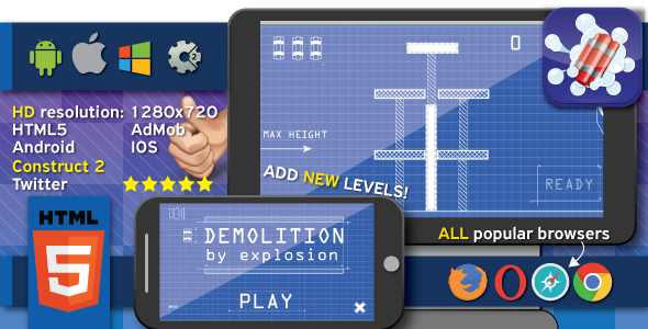 Demolition by explosion - HTML5 (.capx). Export to Android and IOS - CodeCanyon Item for Sale
