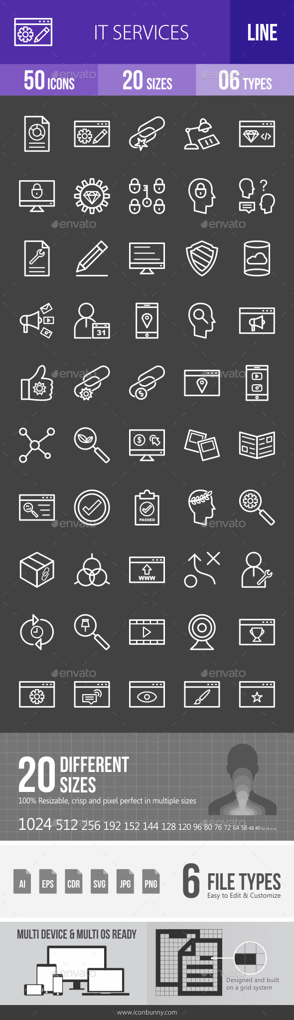 IT Services Line Inverted Icons - Icons