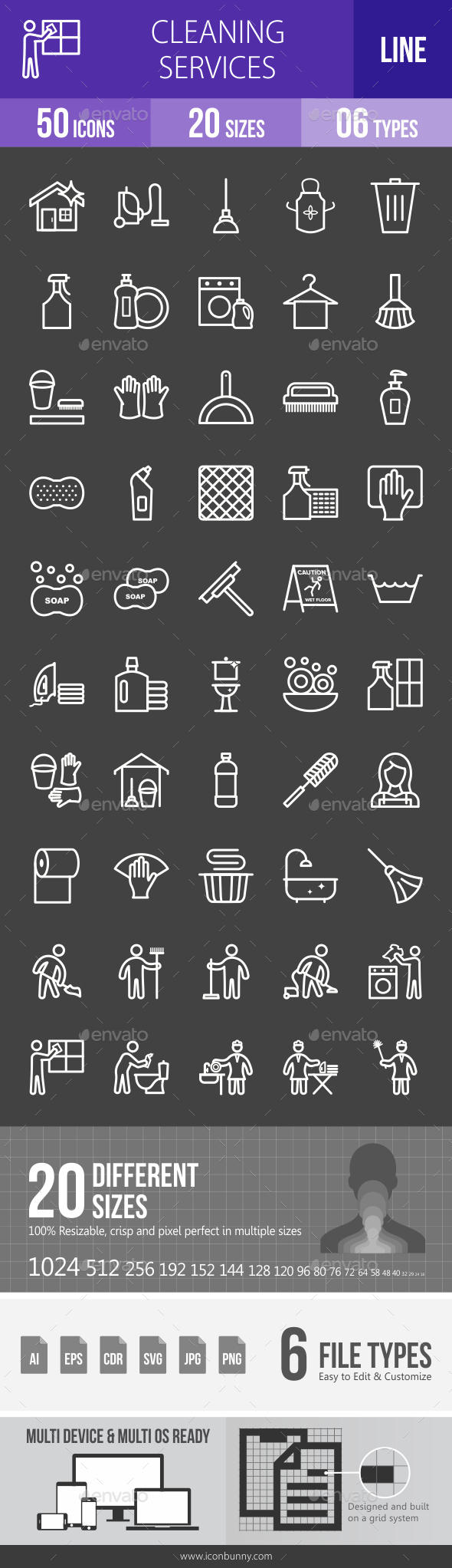 Cleaning Services Line Inverted Icons - Icons