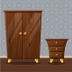 Cartoon Funny Closed Wardrobe and Bedside Table - GraphicRiver Item for Sale