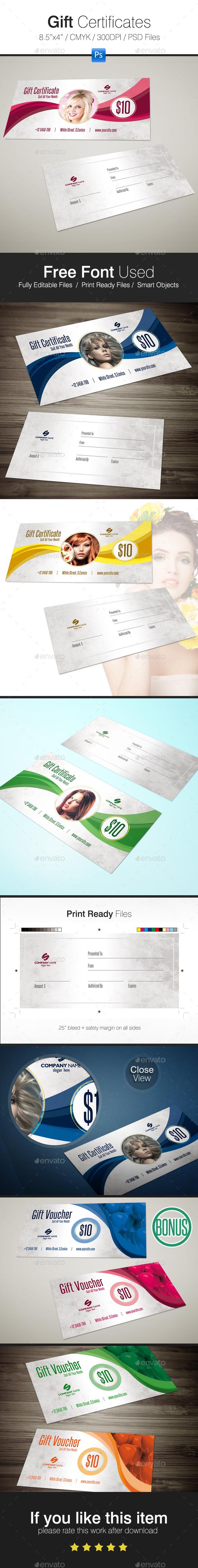 Gift Certificates + BONUS - Cards & Invites Print Templates
