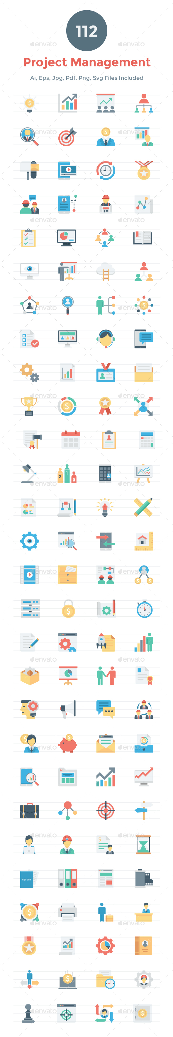 112 Flat Project Management Icons - Icons