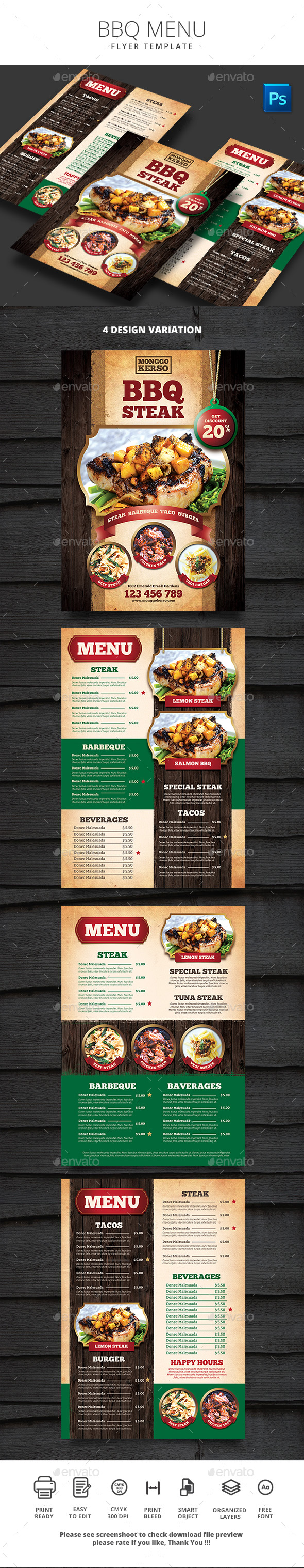 BBQ Menu - Food Menus Print Templates