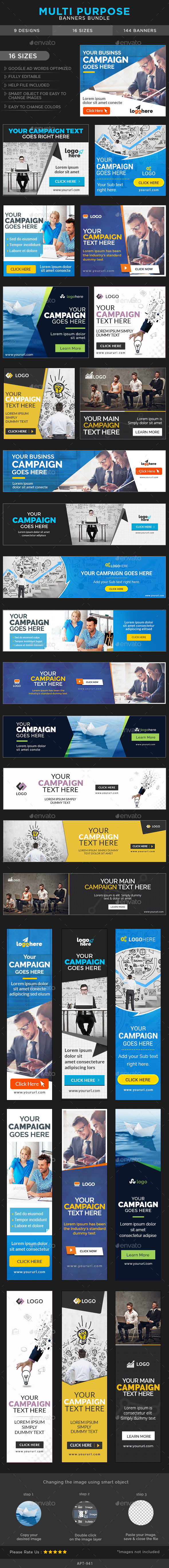 Multi Purpose Banners Bundle - 9 Sets - Banners & Ads Web Elements